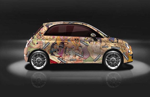 Кузов Фиат 500 украсили иллюстрациями изКамасутры